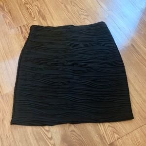 Black Bodycon Mini Skirt with Details